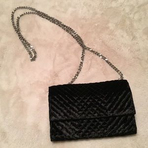 Vince Camuto Quilted Black Velvet Crossbody Clutch